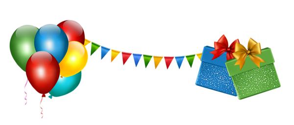clip royalty free Party Decoration with Gifts and Balloons Transparent Clipart