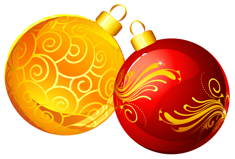 png free Christmas red ornaments png. Decoration clipart yellow.