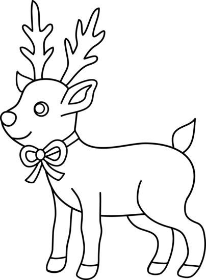 clip library Christmas coloring page free. Reindeer clipart black and white