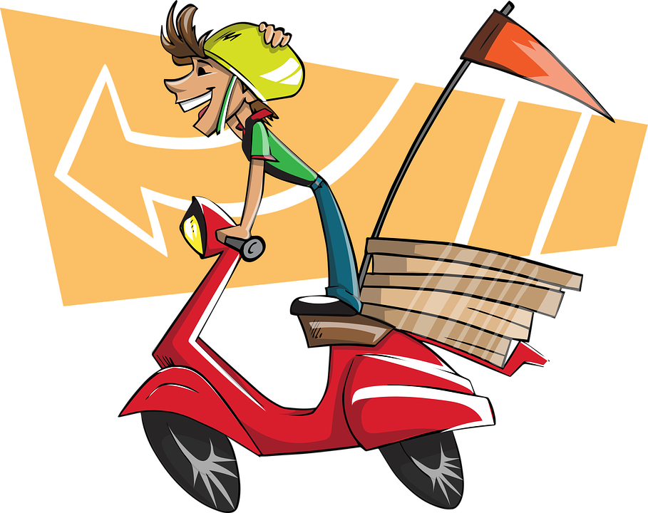 jpg black and white stock Grab launches a service. Guy clipart home delivery food