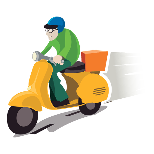 graphic Delivery vector boy. Man on motorbike transparent