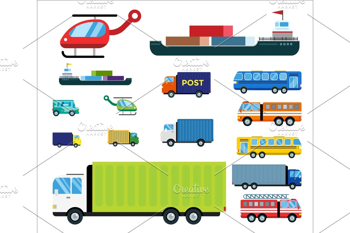 picture library library Transport isolated white transportation. Vector bus delivery