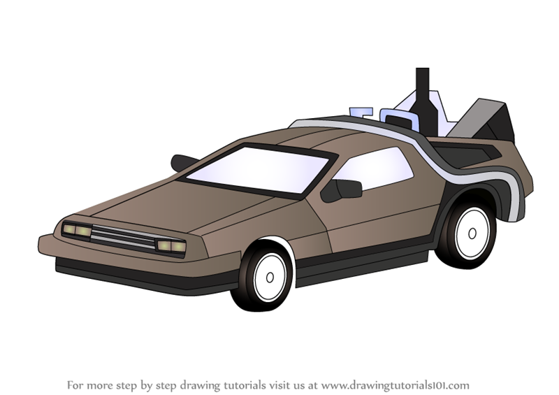 clip black and white stock Learn How to Draw DeLorean from Back to the Future