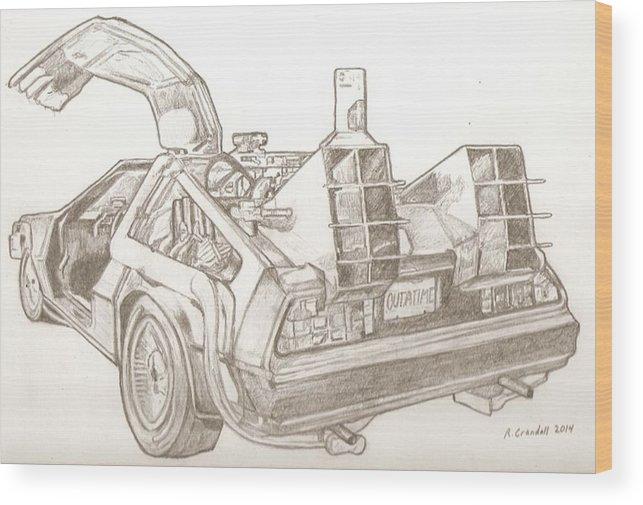 vector transparent stock Delorean Drawing Wood Print