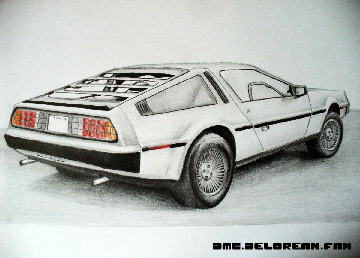 vector delorean drawing dmc #135659205