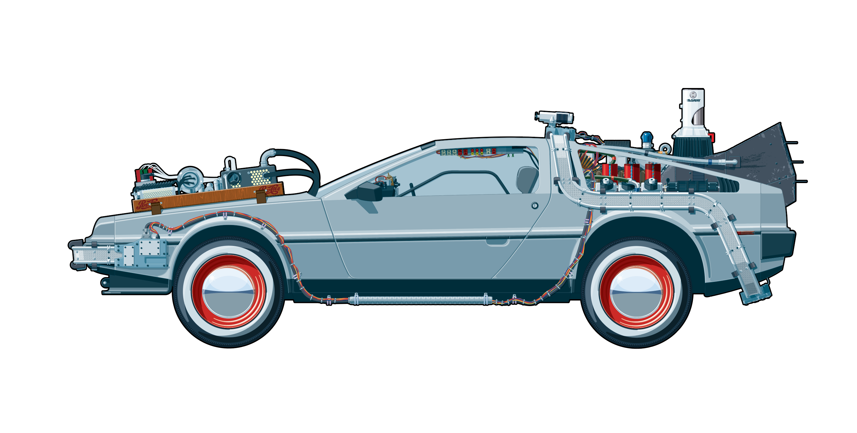 clip art free I made a drawing of the DeLorean Time Machine