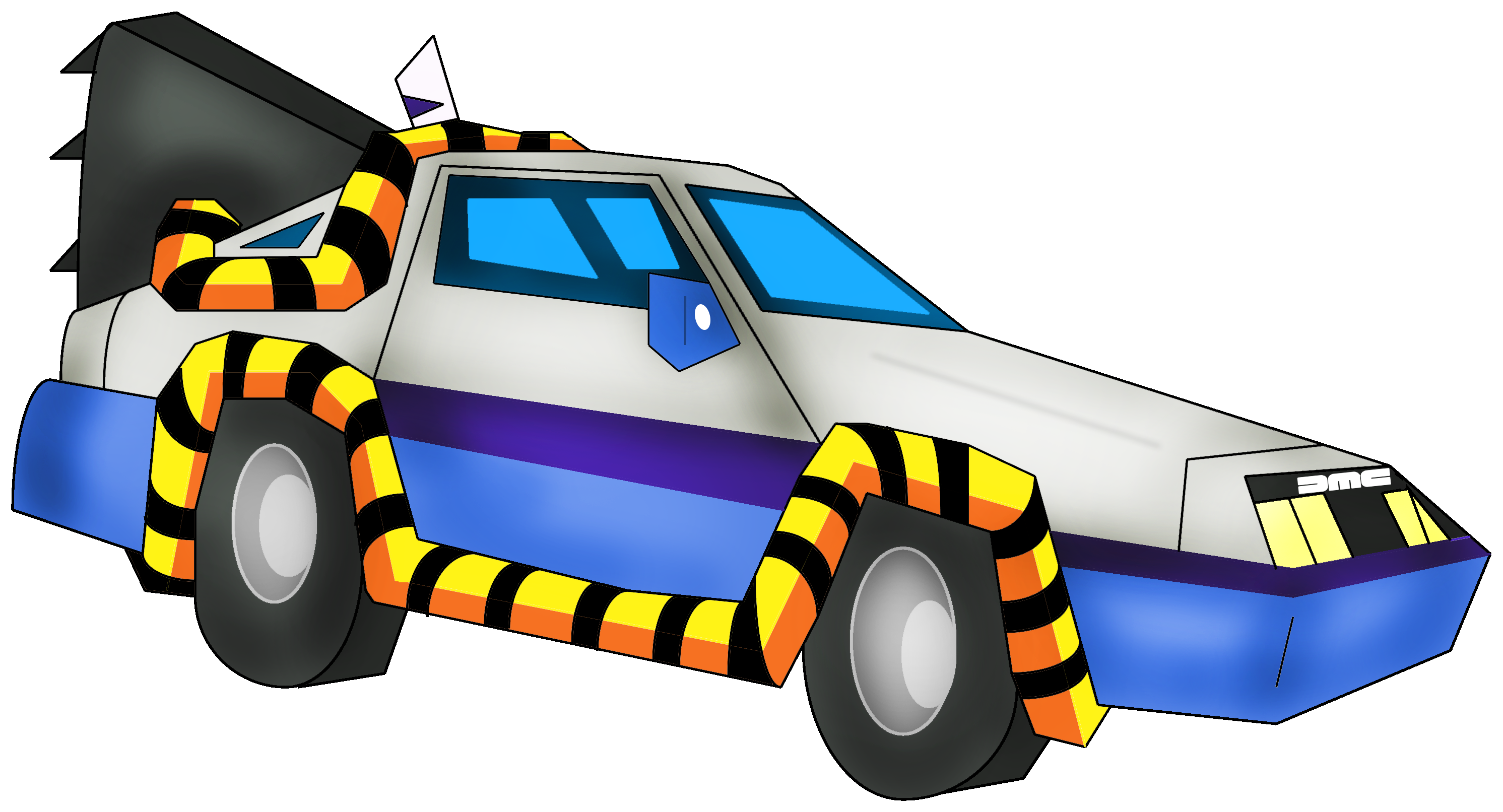 svg freeuse stock Delorean from back to the future cartoon by nicholasnrm