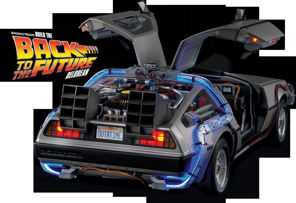 vector black and white Back To The Future Delorean Model Buildup