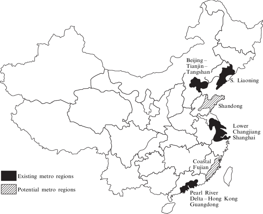 black and white Newly emerging extended metropolitan regions in China