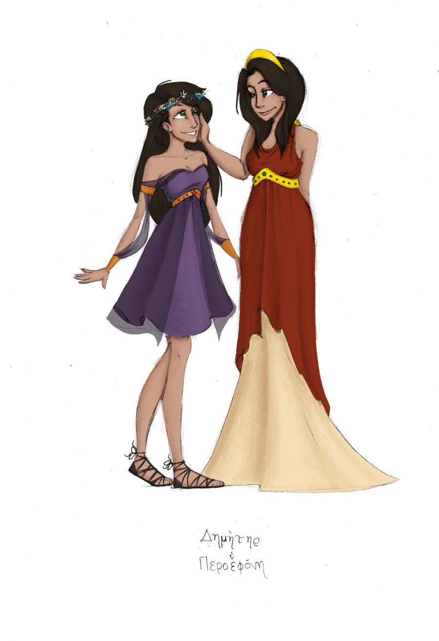 image library download Greek goddesses demeter and. Persephone drawing.