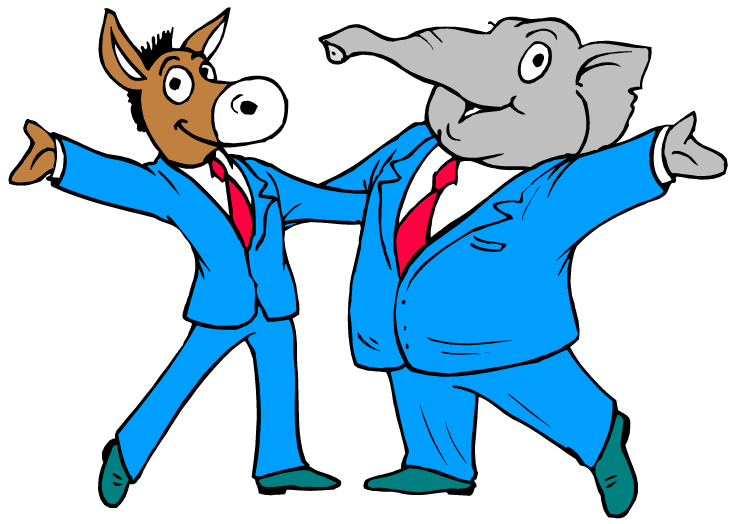 clip art black and white Republicans and Democrats vote for new Internet tax
