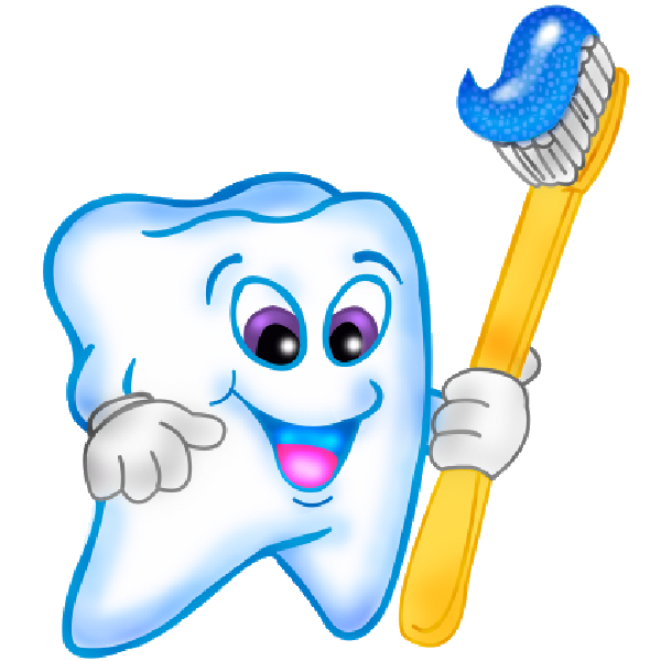 banner library Tooth funny teeth cartoon. Vector dental animation