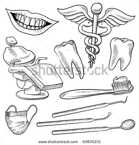 banner library stock Tools names style equipment. Dentist drawing