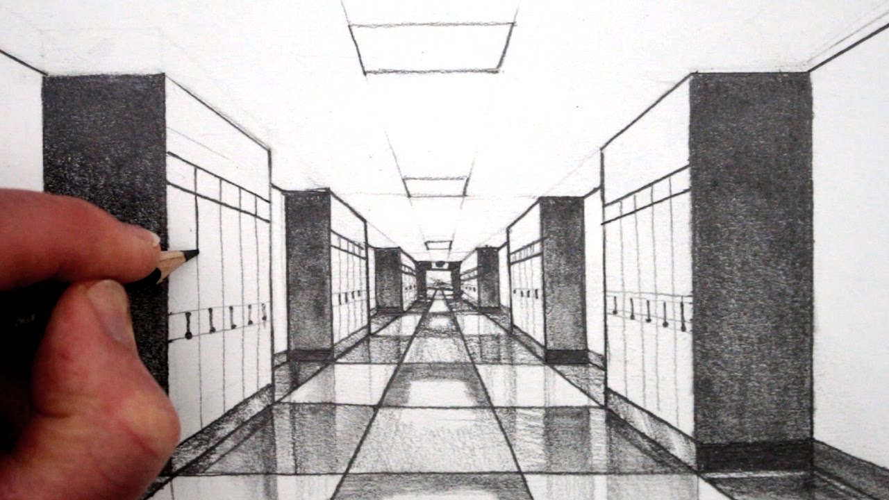 clip black and white library How to draw point. Drawing perspectives hallway