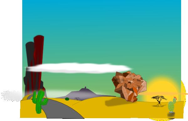 clipart Cartoon Desert Landscape Clip Art at Clker