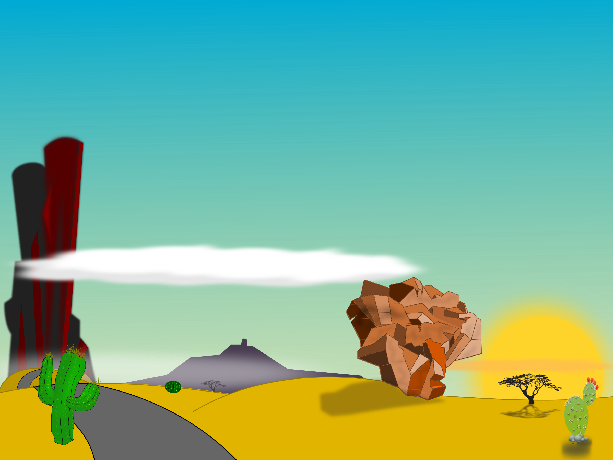 graphic  collection of desert. Vector artist landscape