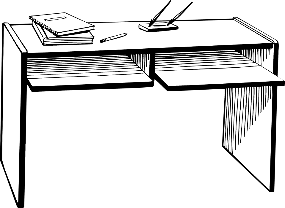 svg black and white Clip art black and. Desk clipart