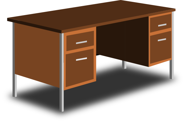 png black and white stock Desk clipart. An office clip art.
