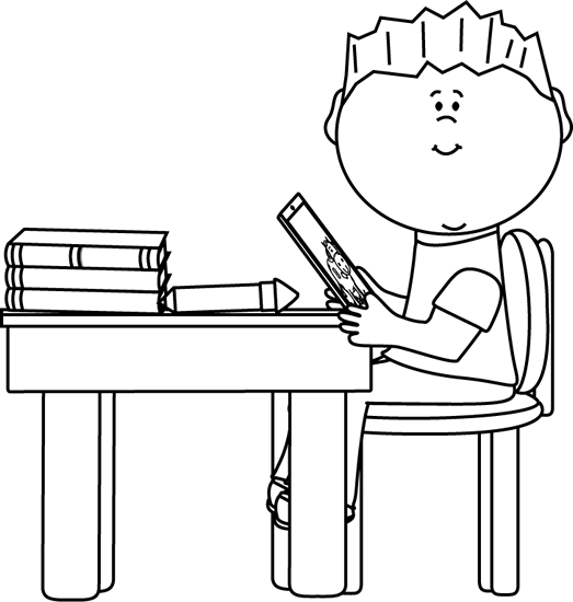banner black and white stock Table black and white clipart. Boy at school desk