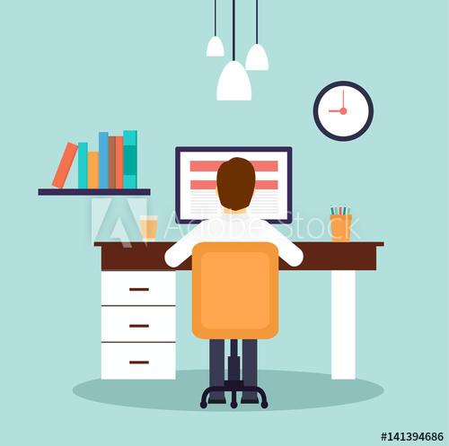 graphic stock Desk vector. Man working on desktop.