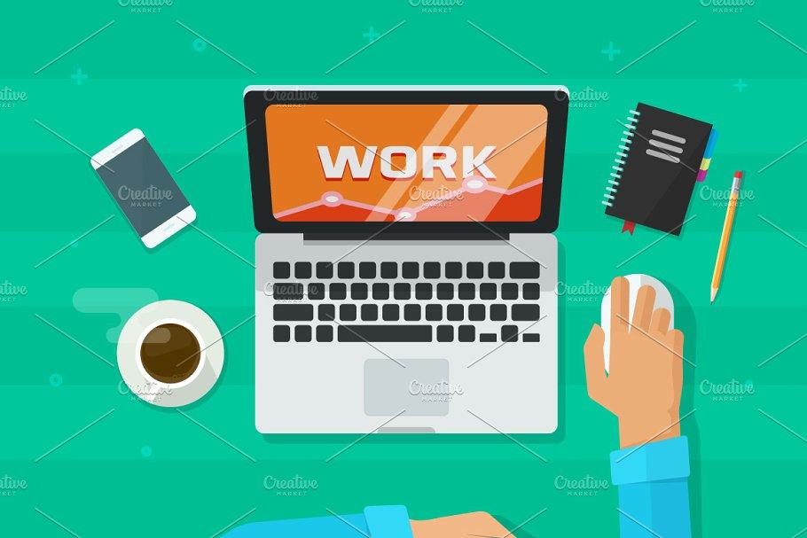 svg transparent stock Laptop computer working illustrations. Desk vector.