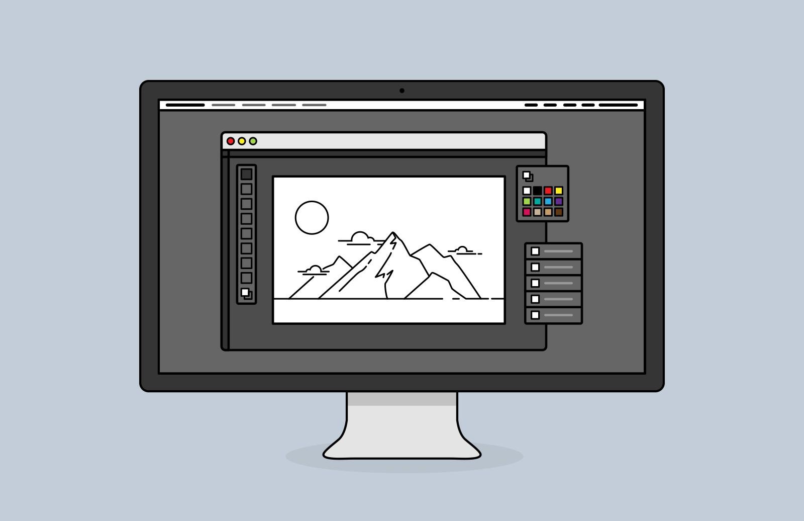 image royalty free download Desktop screen icons . Vector computer screenshot