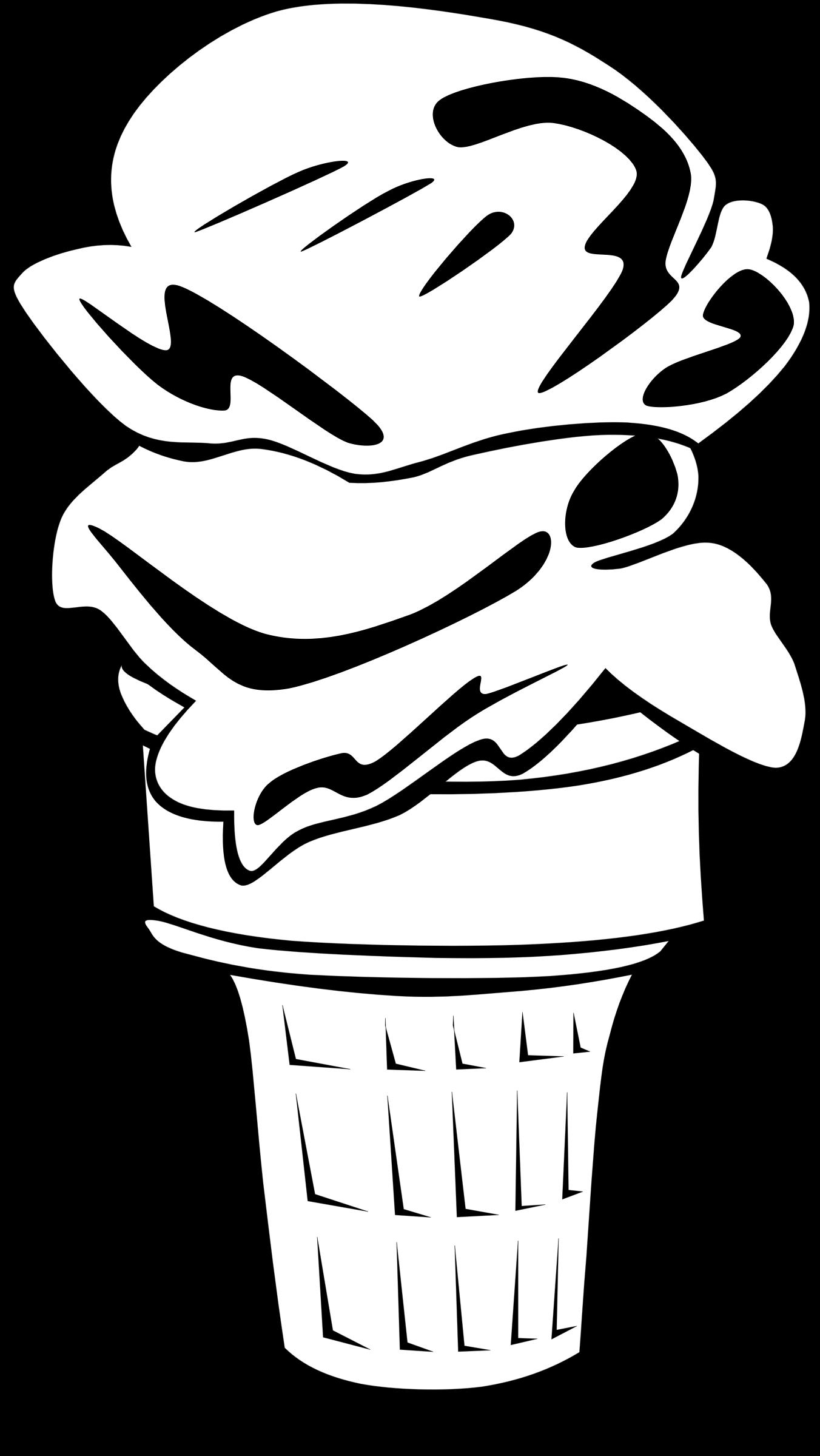 graphic stock Fast food desserts cone. Ice cream scoop clipart black and white