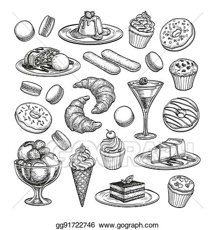 clipart free library Dessert drawing. Vector art sketch set.