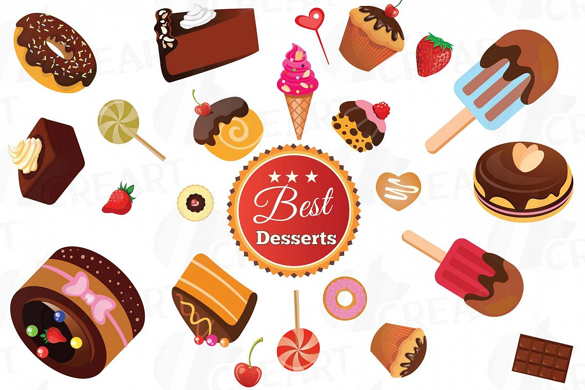 image library stock Desserts clipart. Collection delicious cakes vector