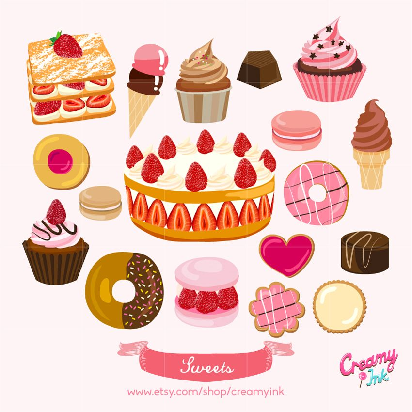 banner royalty free stock Desserts clipart pastry. Sweets digital clip art.