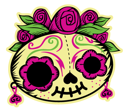 banner black and white stock Dia de los muertos clipart.  collection of high