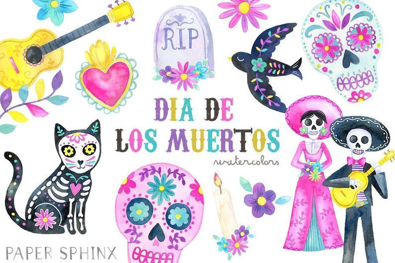 clip black and white stock Dia de los muertos clipart. Watercolor day of the.