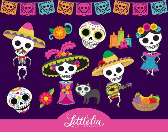 black and white stock Day of the dead. Dia de los muertos clipart.
