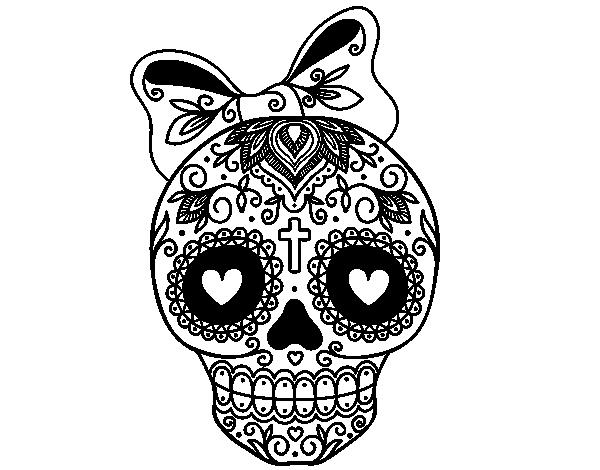 vector free library Dibujo de Calavera mejicana con lazo para colorear