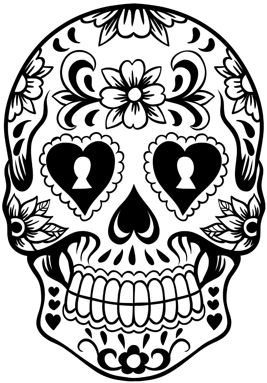 clipart freeuse download Sugar Skull Black And White Drawing at GetDrawings