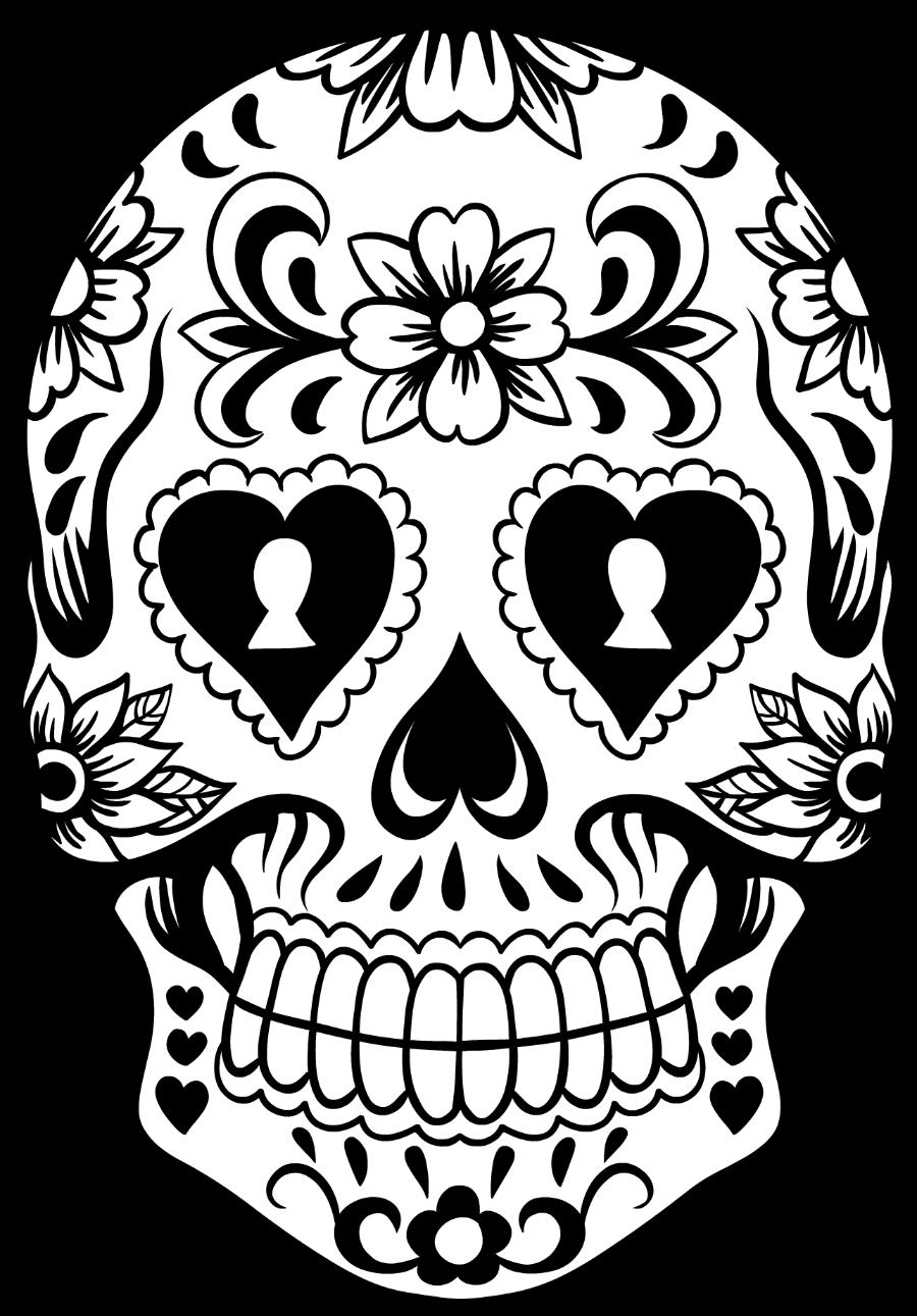 svg Sugar Skull Black And White Drawing at GetDrawings