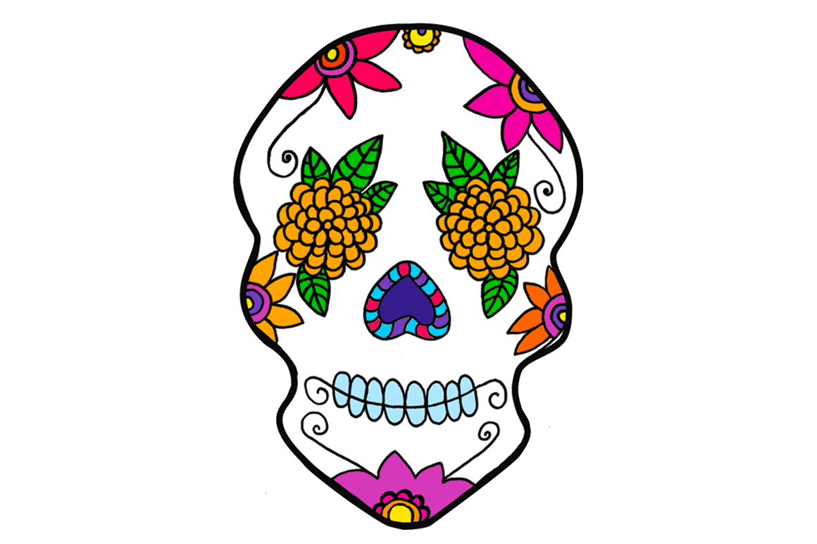 banner library stock Mexico day of the. Sugar skull clipart