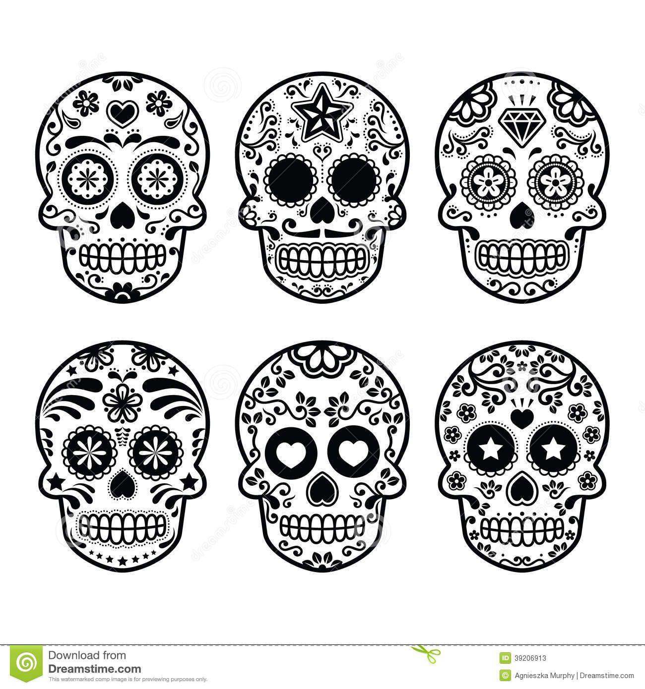 black and white library Dia de los muertos clipart simple. Mexican sugar skull icons