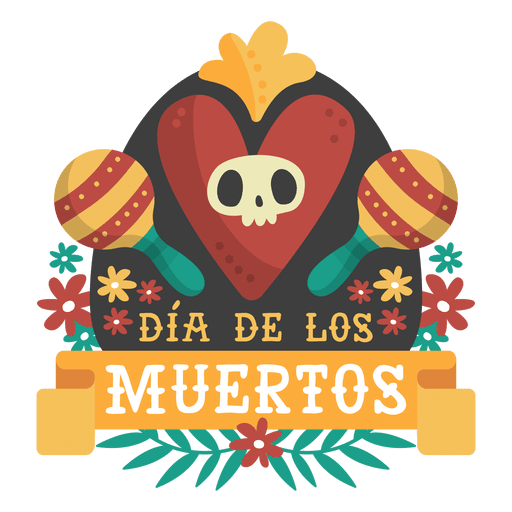 graphic transparent Day of the dead maracas logo