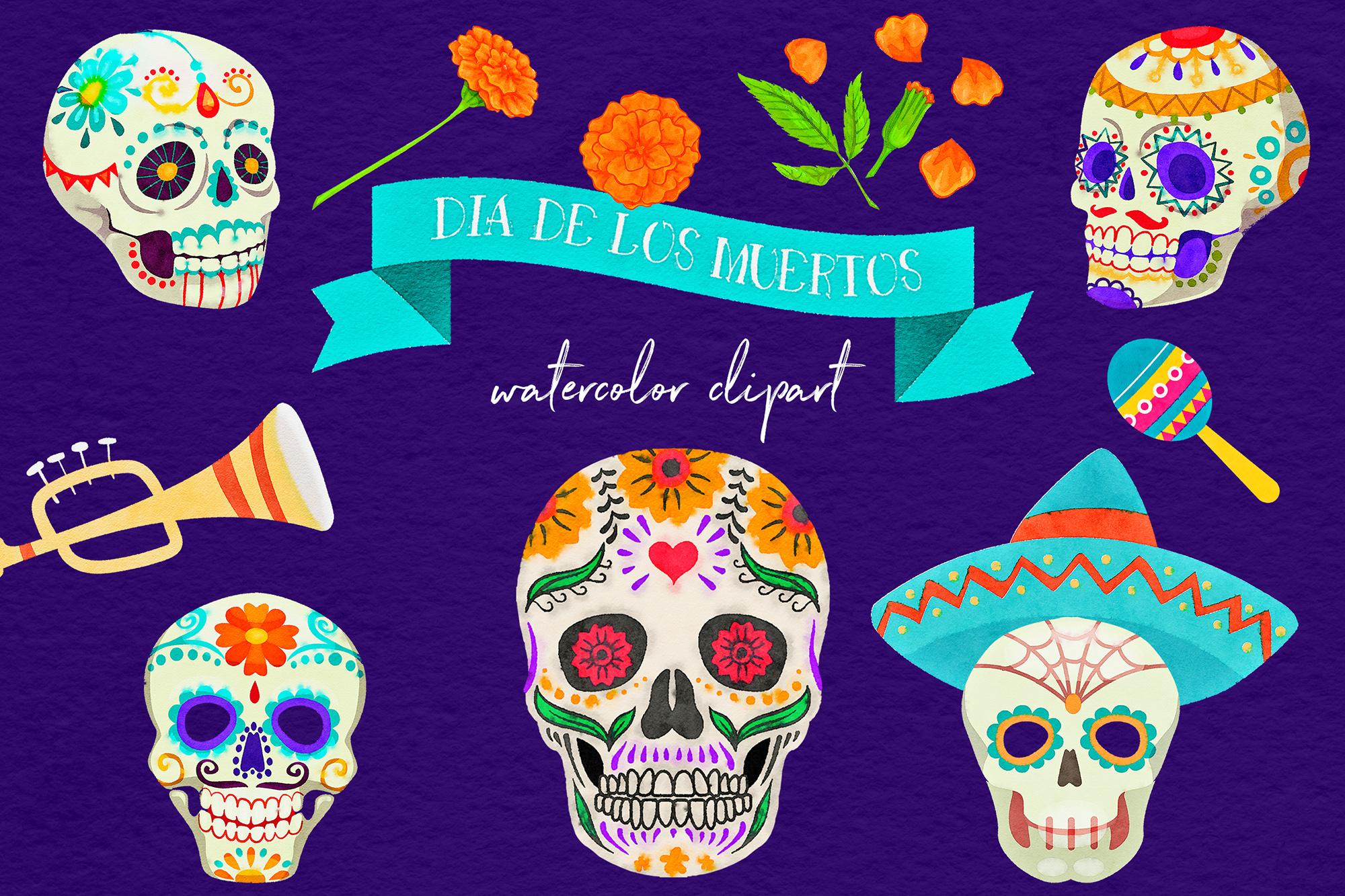 freeuse download Watercolor . Dia de los muertos clipart.