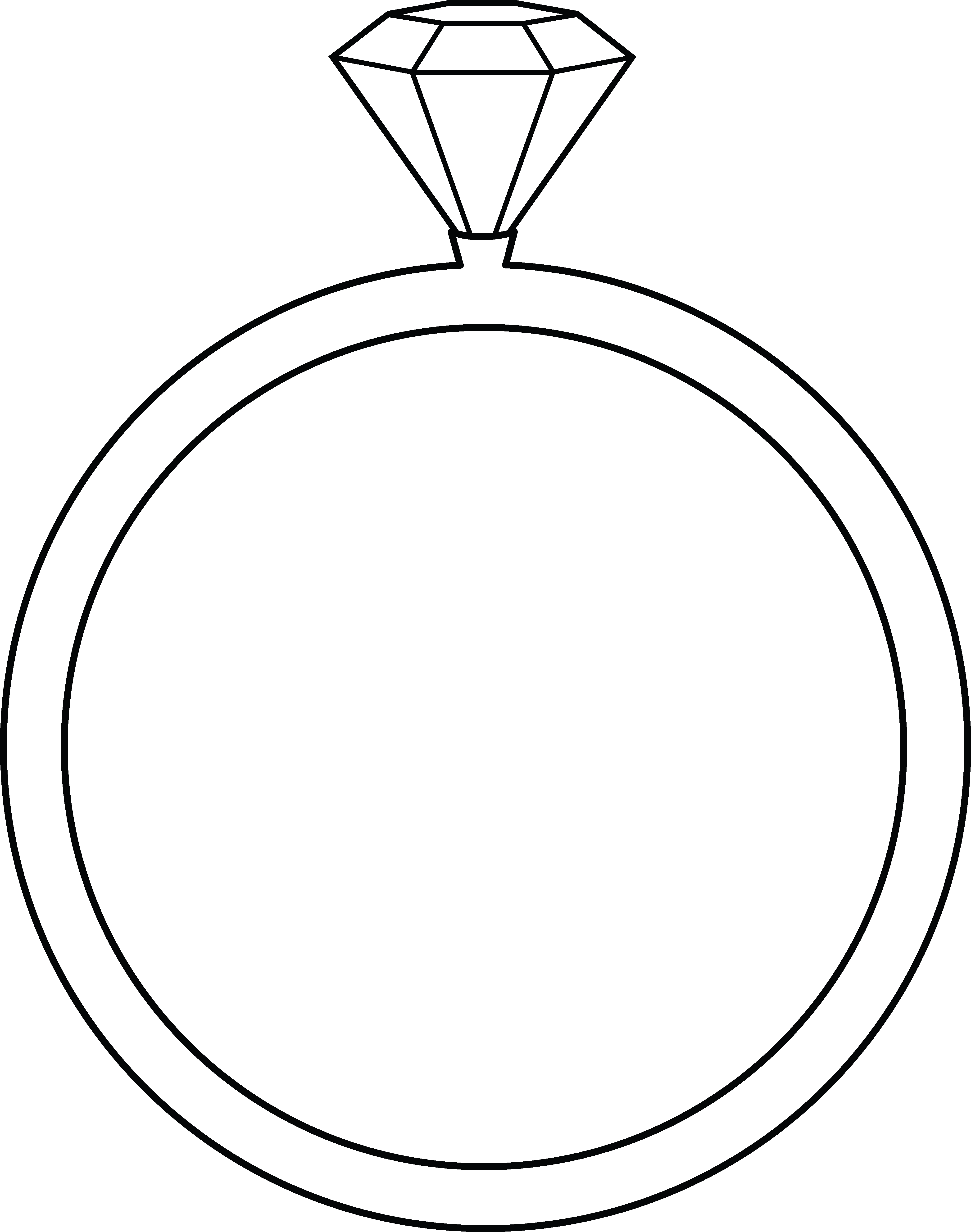 clip black and white library Diamond Ring Lineart