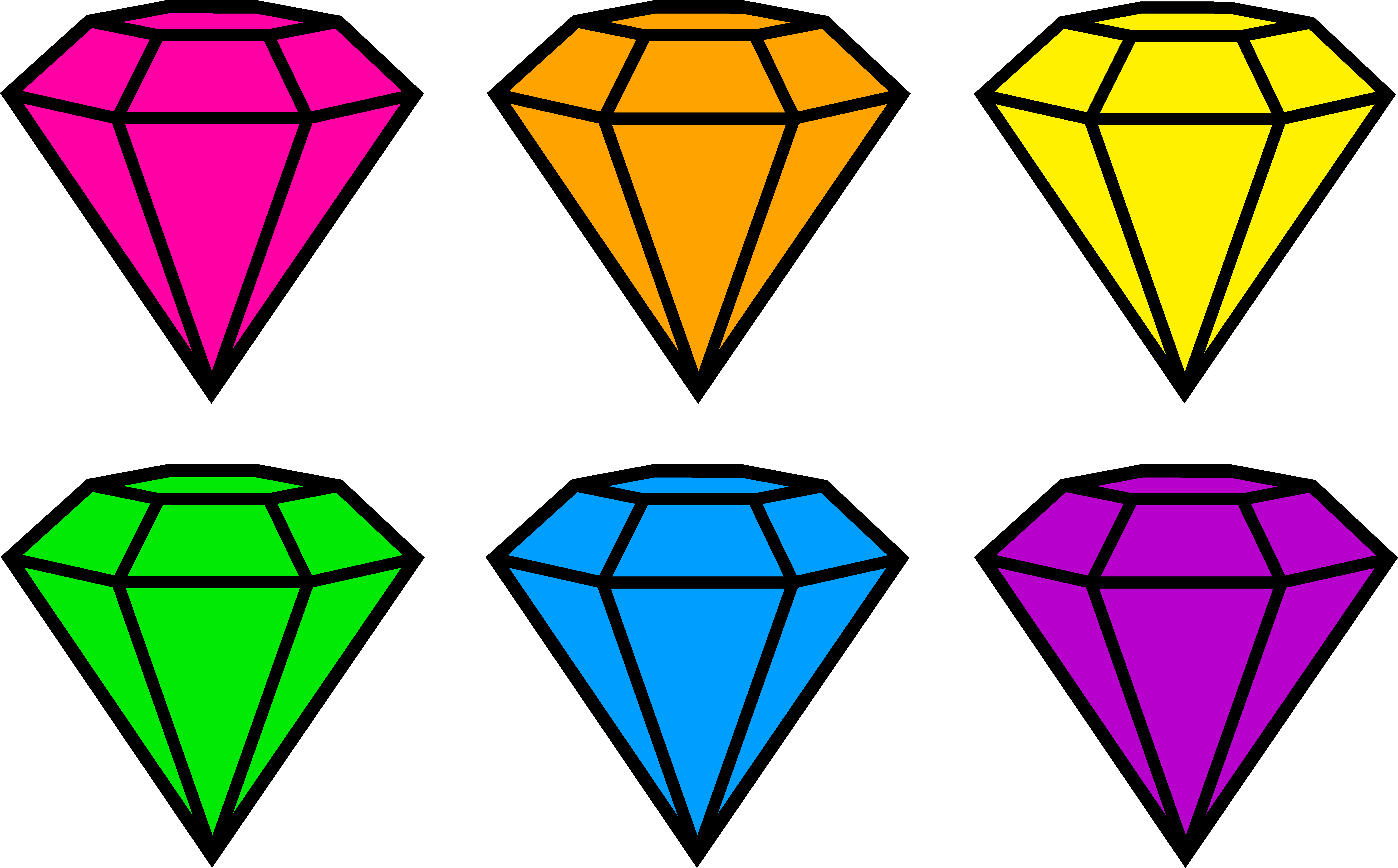 graphic transparent library Clip art design of six diamonds in neon colors