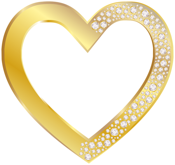 clipart free Gold Heart with Diamonds PNG Clip Art Image