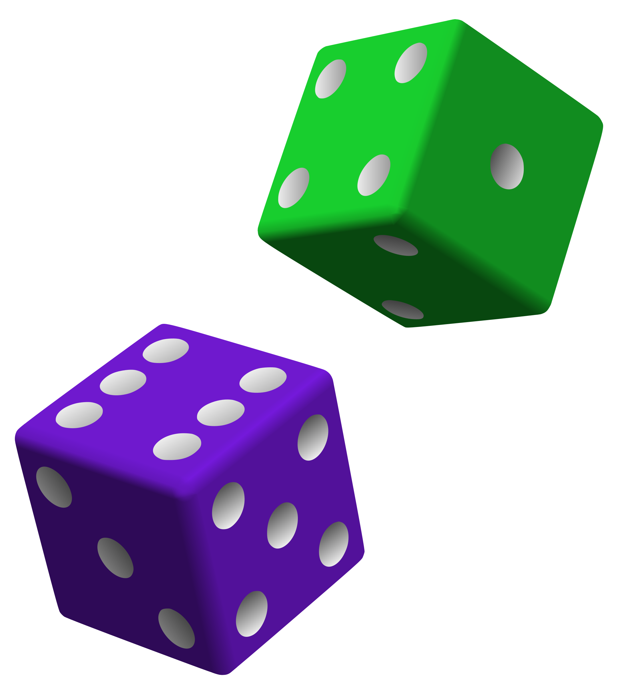 clip art Green and Purple Dice Icons PNG