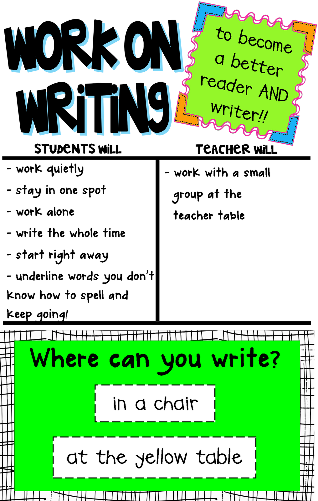 png black and white library Writer clipart word work center. First grade fundamentals all