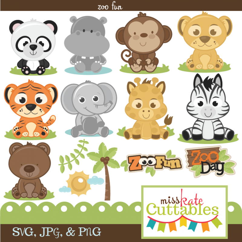 picture black and white download Miss kate cuttables fun. Baby zoo animals clipart.