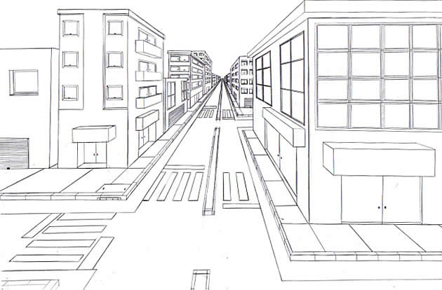 jpg library library Drawing perspectives road. One point perspective the