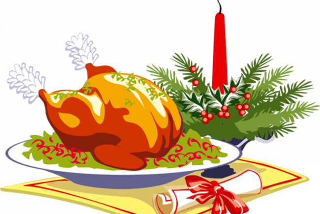 clipart black and white library Lunch for ldc clients. Dish clipart christmas