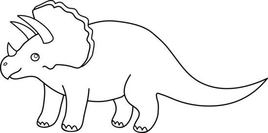 picture black and white library Triceratops Dinosaur Line Art