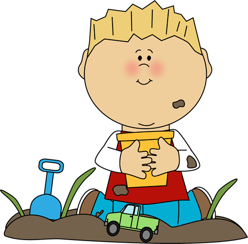graphic freeuse library Playing in the dirt. Toddler boy clipart.